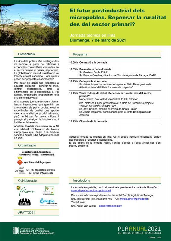 Jornada 'El futur postindustrial dels micropobles. Repensar la ruralitat des del sector primari?'