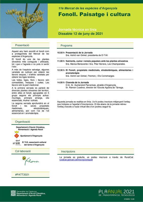 cartell Jornada Tècnica en línia 'Fonoll. Paisatge i cultura' - Argençola