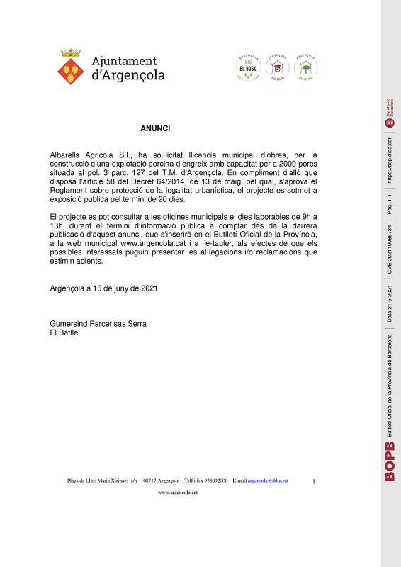 Anunci llicència municipal d'obres Albarells Agricola S.l.