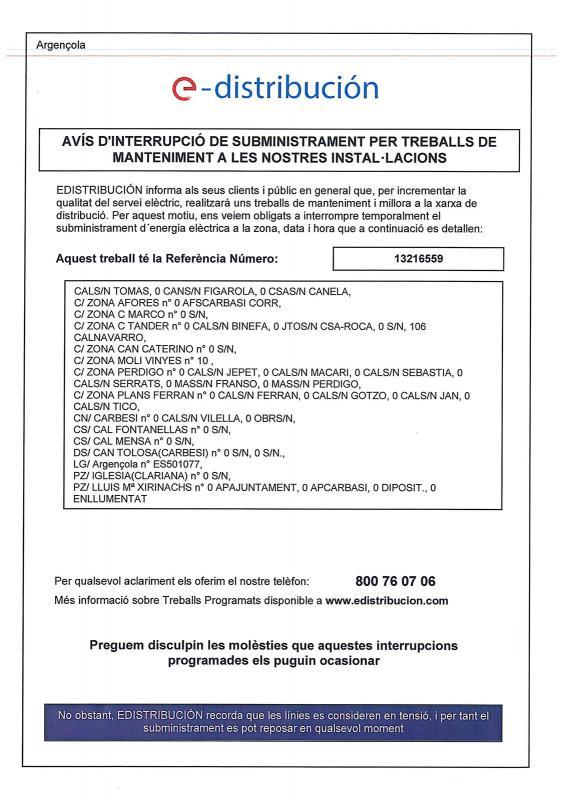 Avís de tall del subministrament elèctric a Argençola - Argençola