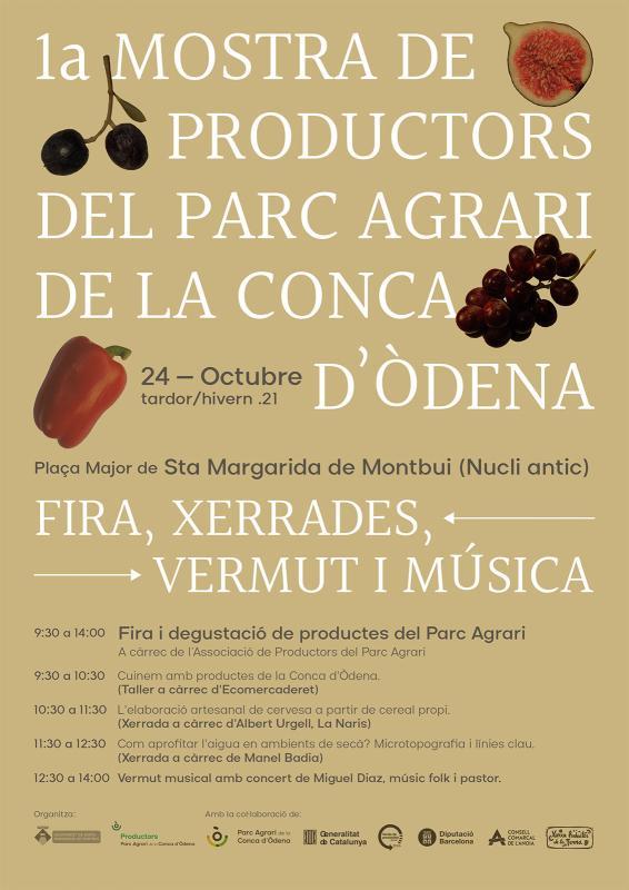 cartell 1a Mostra de Productors del Parc Agrari de la Conca d'Òdena