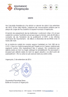 Convocatòria plaça de Jutge de Pau Substitut d'Argençola