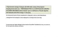 Beques per a curs de 'Preparació per a la certificació europea de serra mecànica'