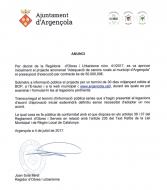 Aprovació inicial del projecte 'Adequació de camins rurals al municipi d'Argençola'