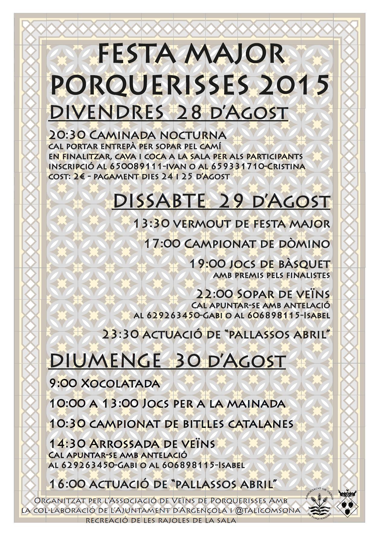 cartell Festa Major de Porquerisses 2015