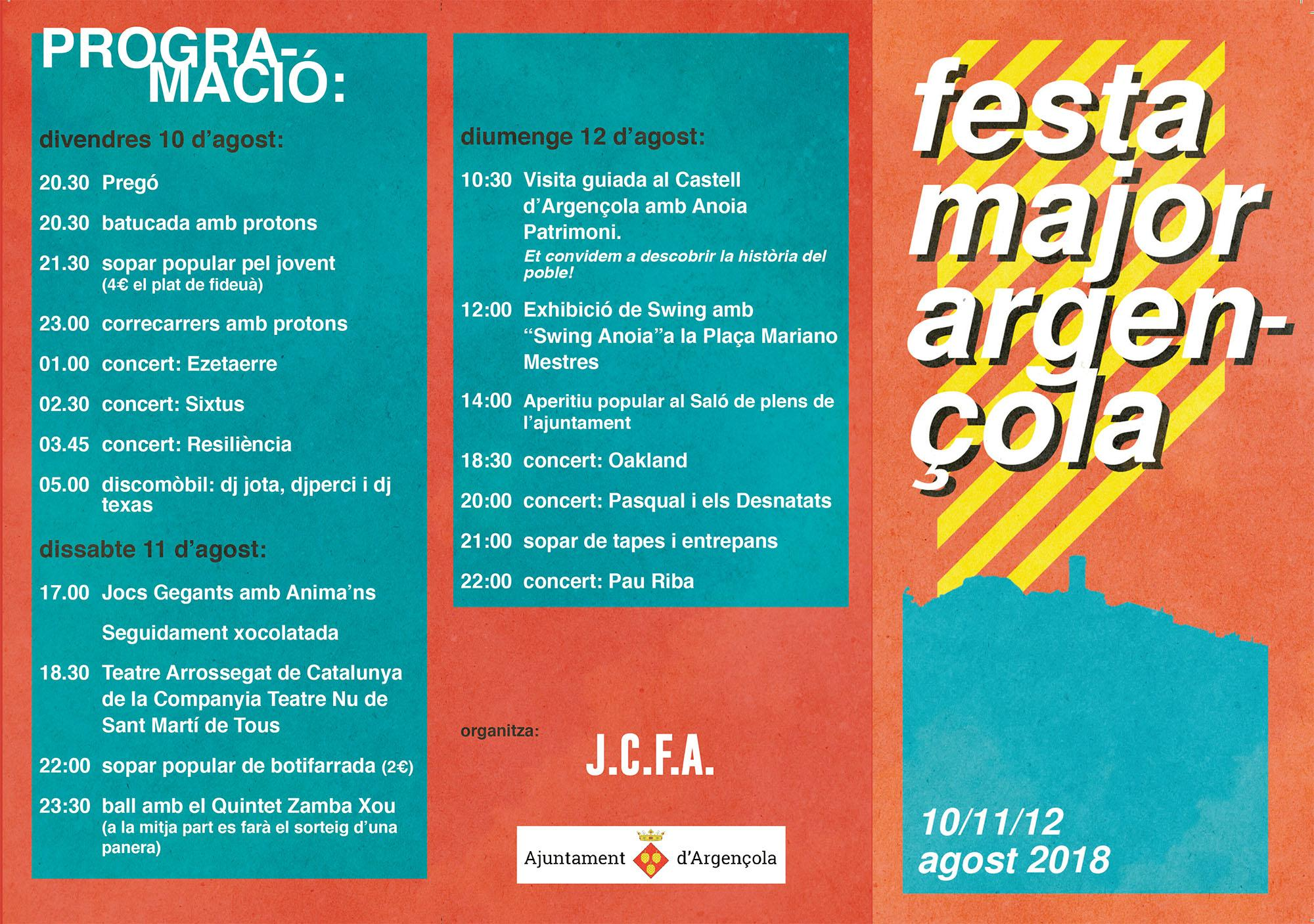 Festa major d'Argençola 2018
