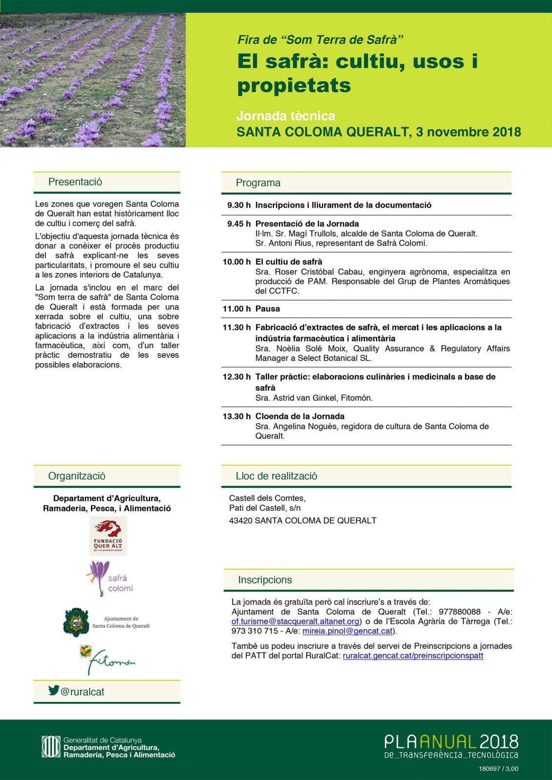 Jornada tècnica 'El safrà: cultiu, usos i  propietats'